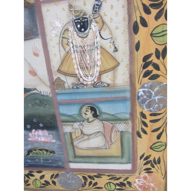 Vintage Hand Painted Indian Silk Tapestry - Image 5 of 8
