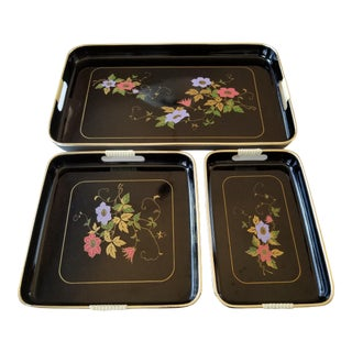 Mid-Century Modern Black Laquer Floral Trays - Set of 3