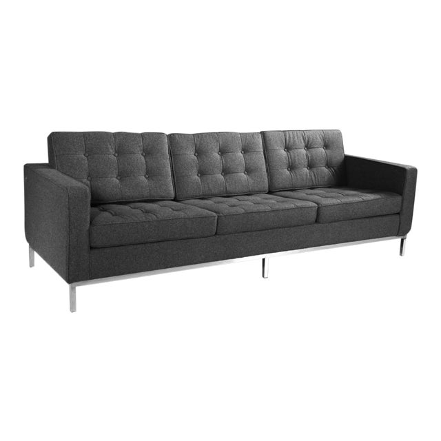 florence knoll style charcoal gray sofa chairish. Black Bedroom Furniture Sets. Home Design Ideas