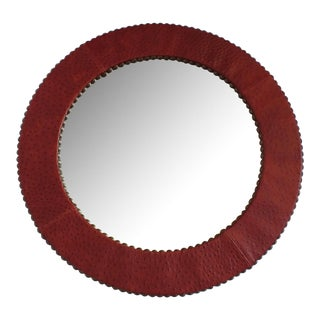 Red Ostrich Leather Wrapped Round Mirror