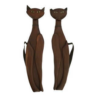 Mid-Century Wood & Brass Wall Cats - A Pair