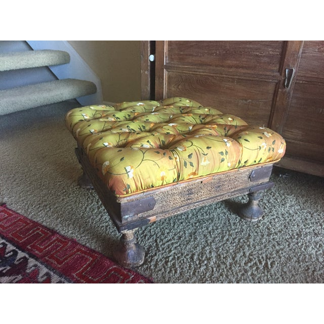 Orange Embroidered Handcarved Ottoman Stool - Image 2 of 11