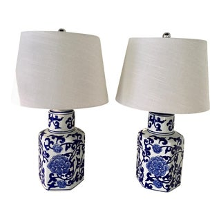 Blue & White Tea Jar Lamps - A Pair