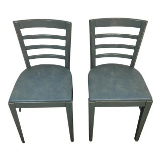 Mid-Century Loewenstein Gray Upholstered Side Chairs - A Pair