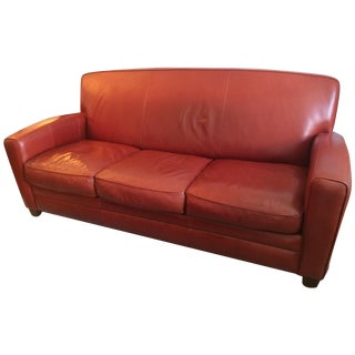 Thomasville Contemporary Red Leather Sofa