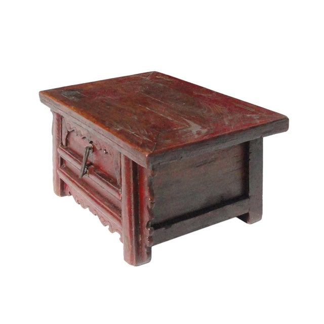 Chinese Old Rustic Small Low Chest Table - Image 4 of 6