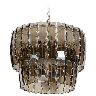 Fontana Arte Style Smoked Glass Chandelier