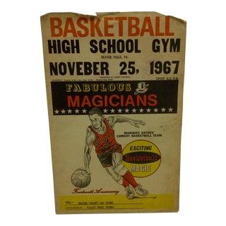 "Vintage ""Fabulous Magicians"" Basketball Game Poster - Circa 1967"