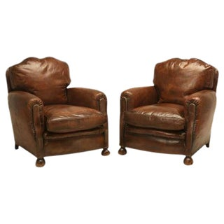 Art Deco French Leather Club Chairs - A Pair