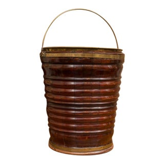 Turned Mahogany Peat Bucket with Brass Liner, Dutch, circa 1820