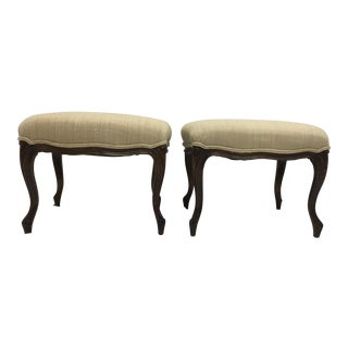 Belgian Flax Upholstered French Ottomans - A Pair