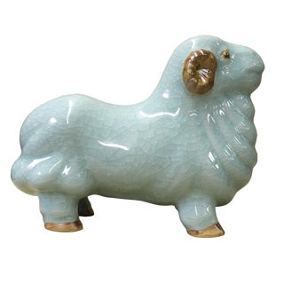 Crackle Celadon Glaze Ceramic Ram Sheep Figure