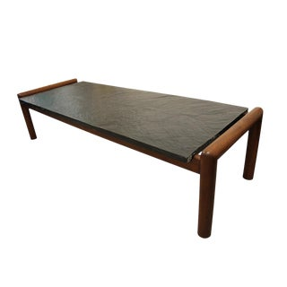 Mid Century Modern, vintage Adrian Pearsall walnut and stone coffee table