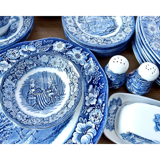 Image of Staffordshire Dinnerware Liberty Blue China Set