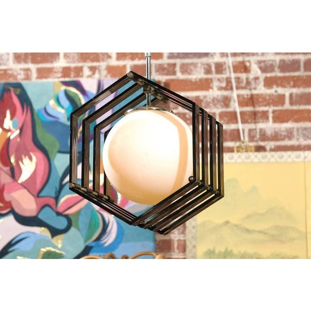 Image of Mid-Century Hexagonal Acrylic and White Globe Pendant