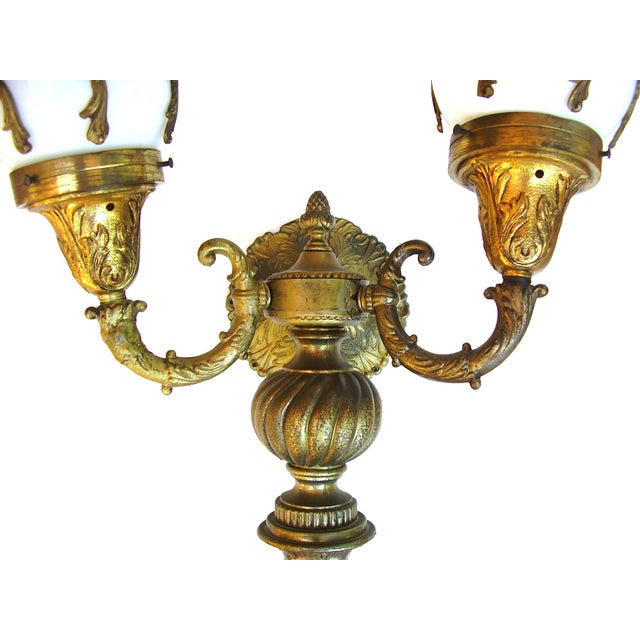 Antique Wall Sconce French Lamps Bronze - A Pair - Image 4 of 5