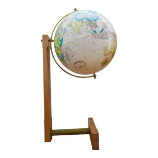 Sleek Modernist Floor Globe on Wood & Metal Stand