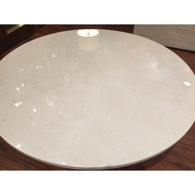 Image of Milo Baughman Travertine & Brushed Bronze Table