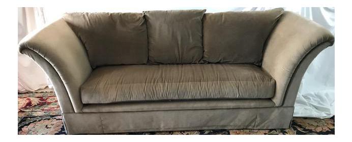 Khaki Marge Carson Velvet Sofa   Image 1 Of 11
