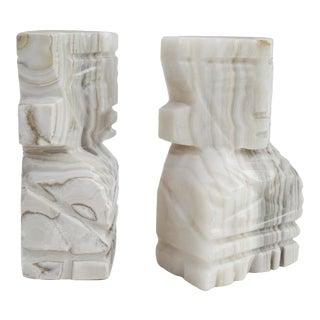 Aztec Motif Marble Bookends