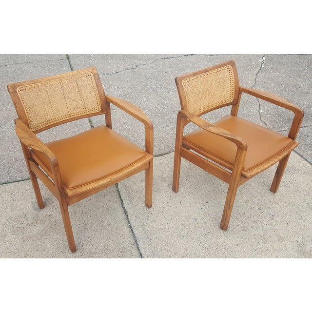 Vintage Rattan Back Guest Armchairs - Pair - Image 2 of 8