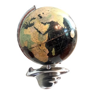 Vintage Weber and Costello Art Deco Airplane-Base Black Oceans Globe