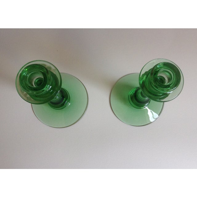 Green Depression Glass Candle Holders - A Pair - Image 6 of 6