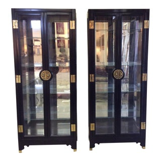 Asian-Style Black Lacquered China Cabinets - Pair