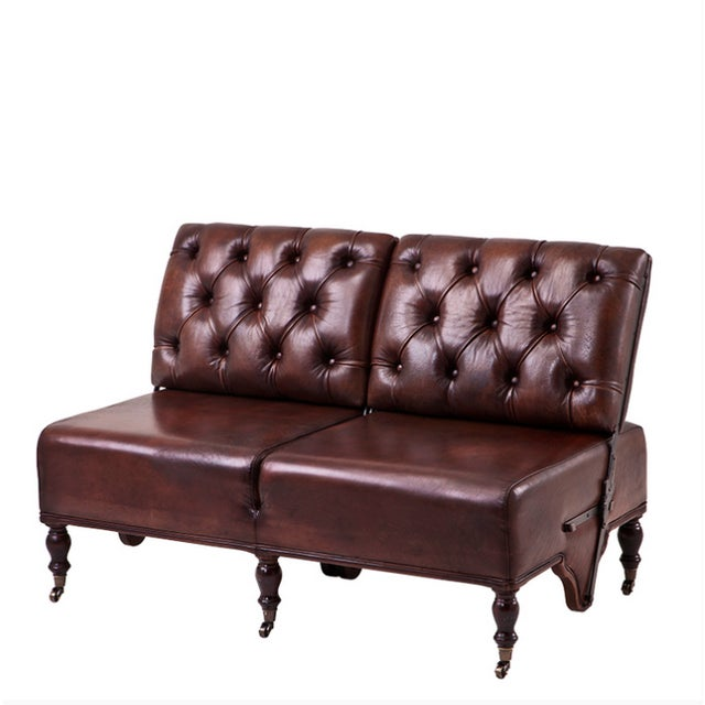 Tufted Leather Tete A Tete Love Seat Sofa Chairish