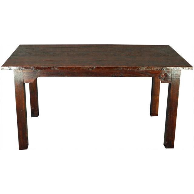 Solid Oak with Teak Country Style Dining Table - Image 1 of 8