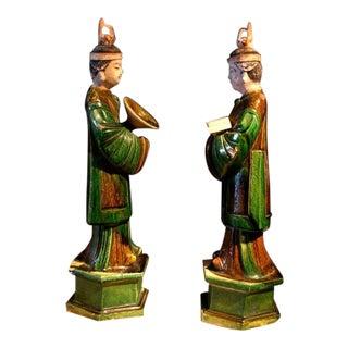 A Pair of Ming Dynasty Glazed Pottery Attendants