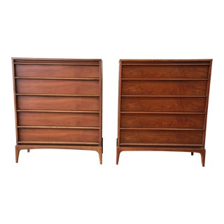Pair of Lane Rythm Mid-Century Modern Sculpted Walnut Highboy Dresser