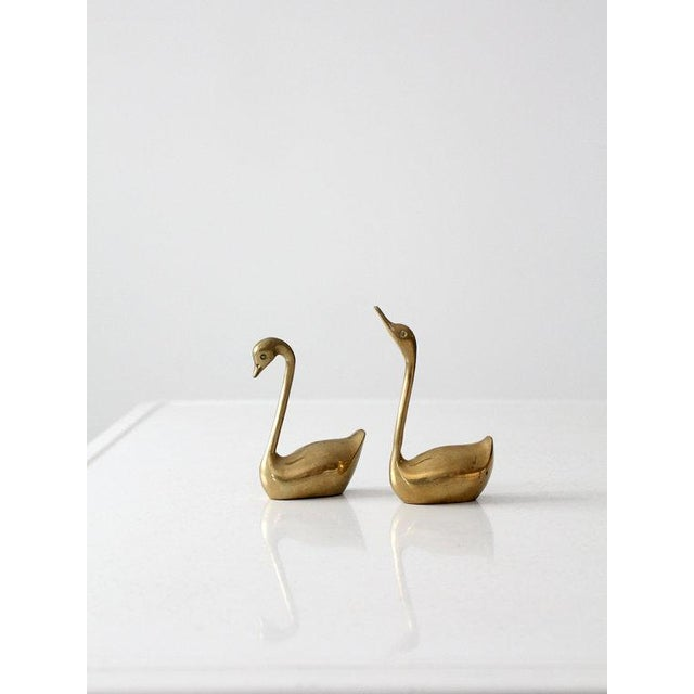 Image of Mid-Century Brass Swans - A Pair