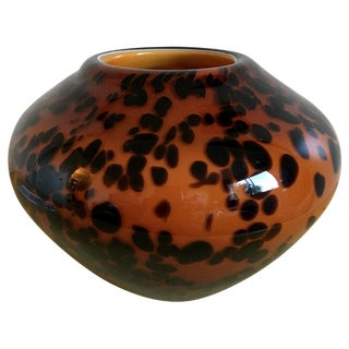Hollywood Regency Leopard Heavy Glass Vase