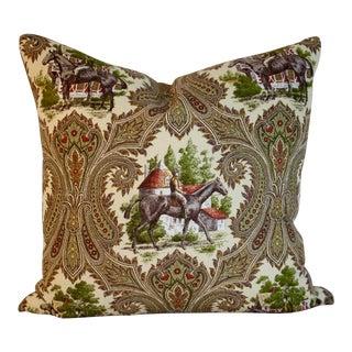 Linen Equestrian Theme Pillow