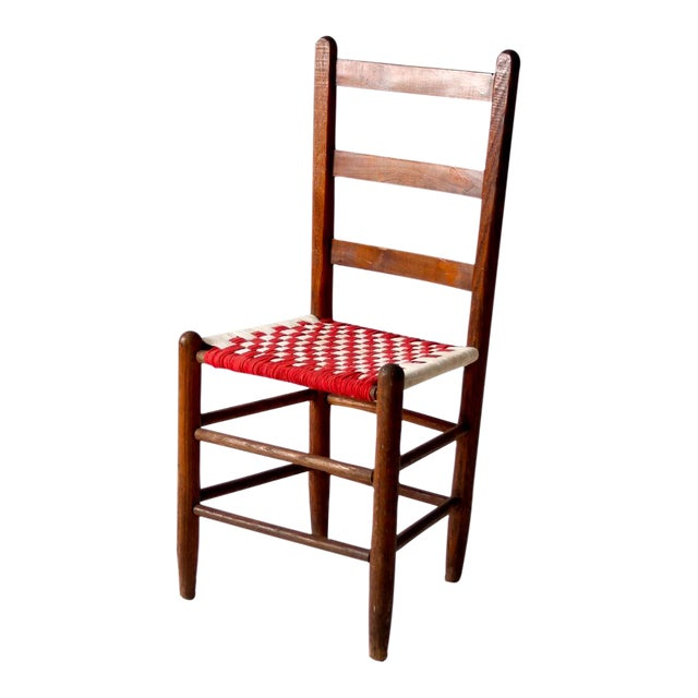 Image of Antique Ladder Back Upholstered Seat Chair