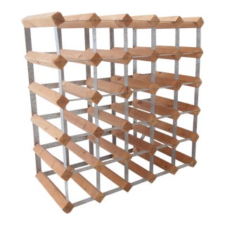 Vintage Modular Mid-Century Natural Wood and Metal Wine Rack