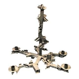 Abstract Brutalist Industrial Metal Five-Arm Chandelier
