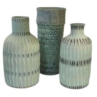 Textured Seafoam Stoneware Vase, Contemporary, Thailand