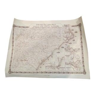 C.1861 Reproduction North/ South Carolina Colton Map