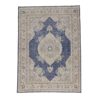 Oversized Vintage Navy Beige Turkish Oushak Rug - 9′ × 12′3″