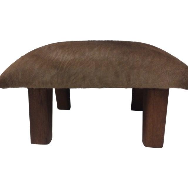 Image of Cowhide Leather & Laurel Wood Footstool