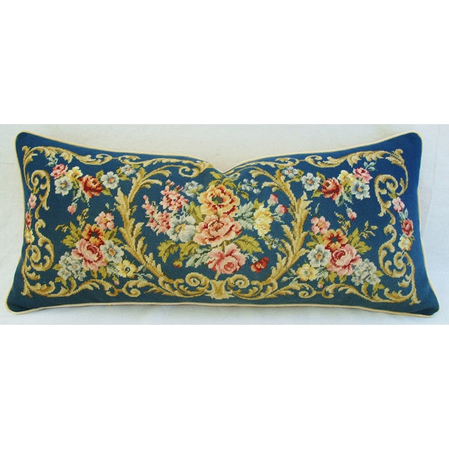 Custom 19th-C. French Needlepoint Floral Pillow - Image 2 of 11