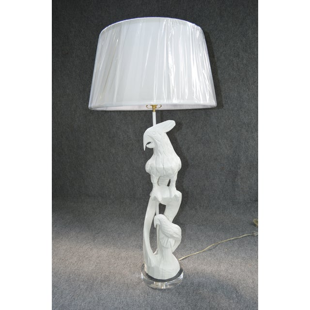 Vintage White Hand Carved Wooden Parrot Lamp - Image 2 of 8