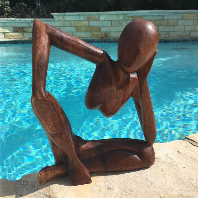 Mid-Century Modern Wooden Sculpture - Image 2 of 7