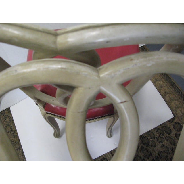 Italian Painted & Pink Leather Chairs - A Pair - Image 7 of 10