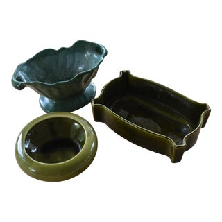 Mid-Century Green Planters - Set of 3