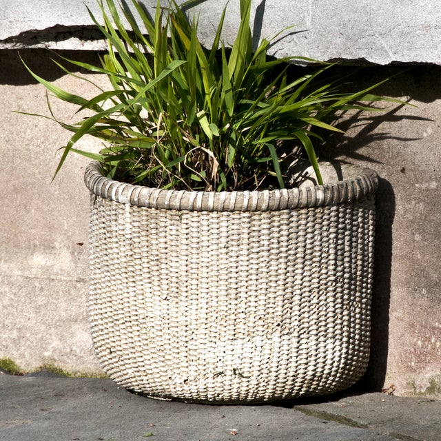 Cast concrete wall planter basket chairish - Casting concrete planters ...