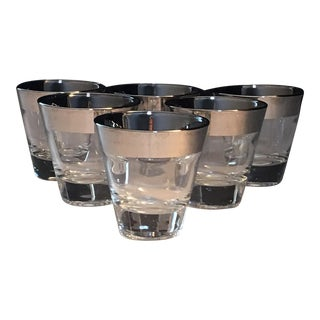 Mid-Century Silver Trim Shot Glasses - Set of 6