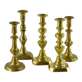 Old English Brass Candlesticks - Set of 5